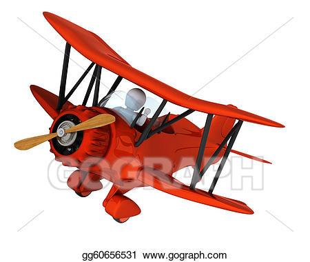Drawing man flying a. Biplane clipart logo