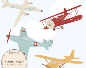 Biplane clipart old fashioned. Vintage airplane etsy professional
