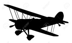 Three classic propeler silhouetes. Biplane clipart outline