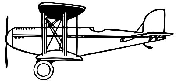 Plane clip art at. Biplane clipart outline