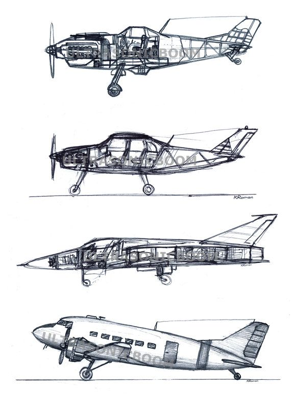 Airplanes collection cut section. Biplane clipart side view