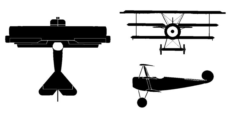 Fokker dr i rc. Biplane clipart side view