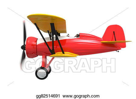Of red and yellow. Biplane clipart side view