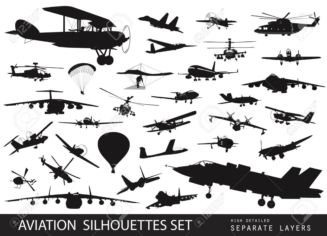 Biplane clipart silhouette. Vintage and modern aircraft