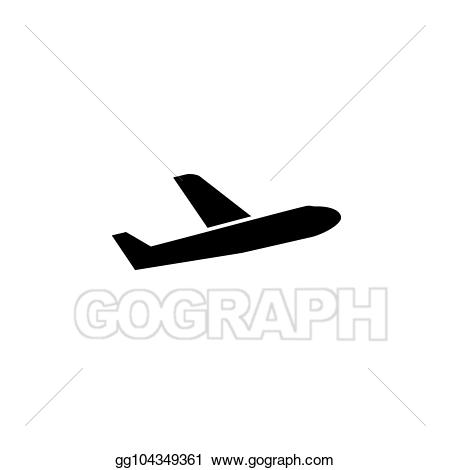 Clipart plane sign. Vector art simple back