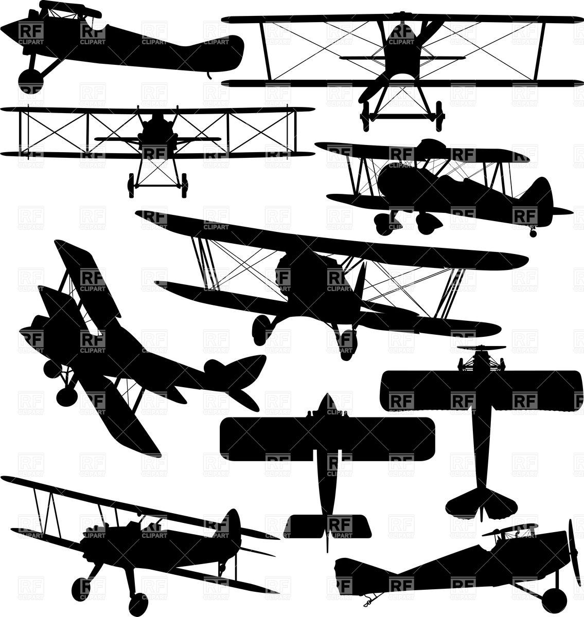 Biplane clipart sketch. Silhouettes of old aeroplane