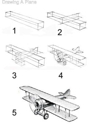 How to draw a. Biplane clipart sketch