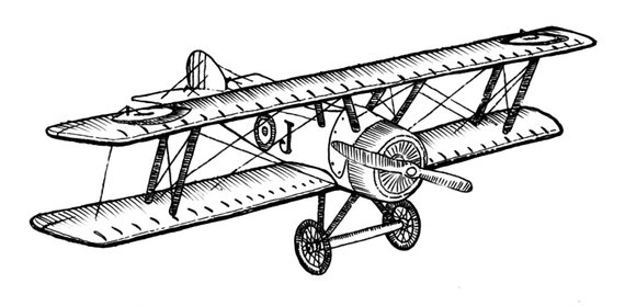 biplane clipart sketch