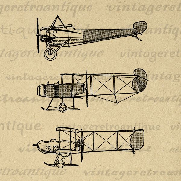 Printable airplanes digital image. Biplane clipart sketch