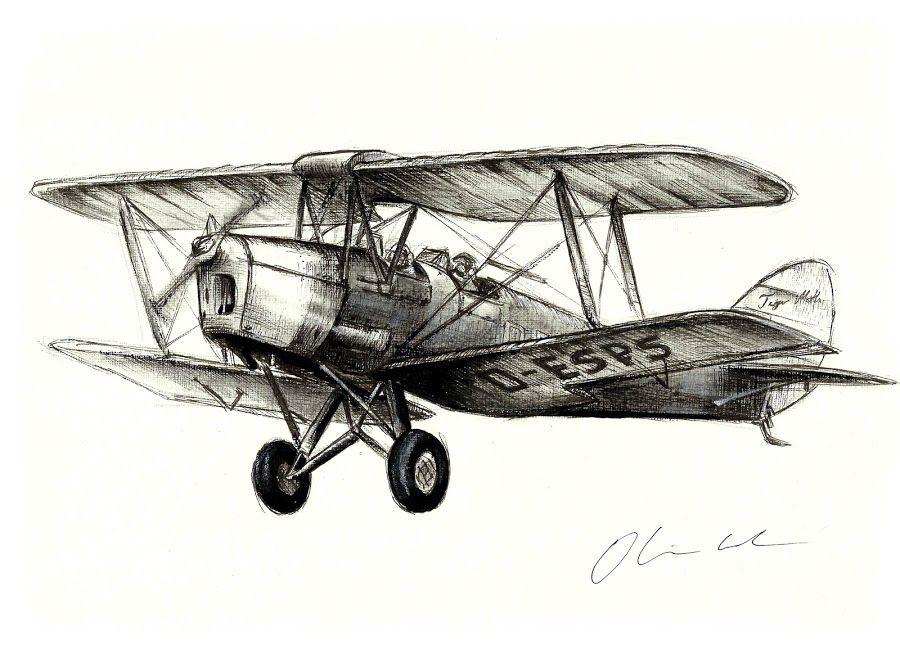 Tiger moth by oliver. Biplane clipart sketch