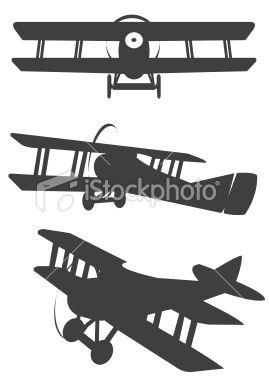 Biplane clipart stencil. Three classic propeler silhouetes