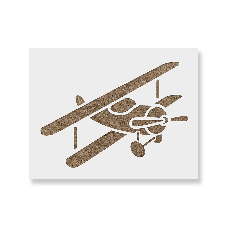 Biplane clipart stencil. Airplane template for walls