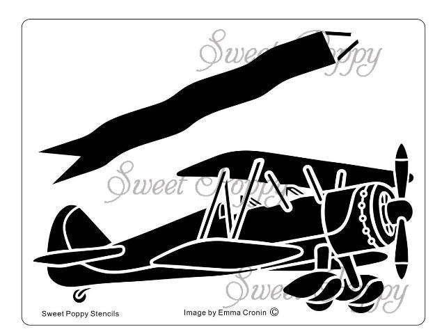 Sweet poppy banner a. Biplane clipart stencil