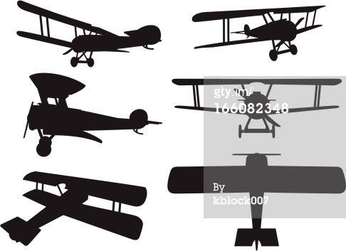 Biplane clipart stencil.  vector silhouettes of