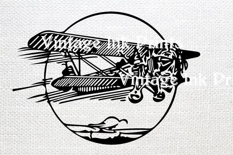 Svg black illustration clip. Biplane clipart stencil