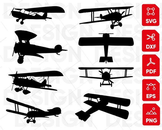 Aeroplane propeller plane silhouette. Biplane clipart svg