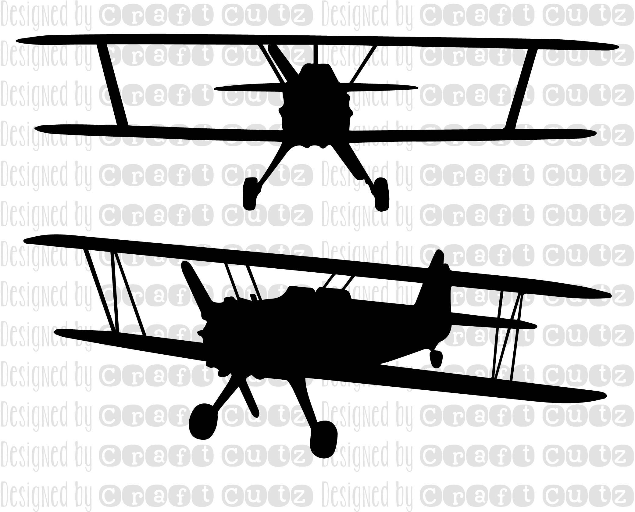Nursery room airplane silhouette. Biplane clipart svg