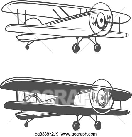 Biplane clipart symbol. Clip art vector airplane