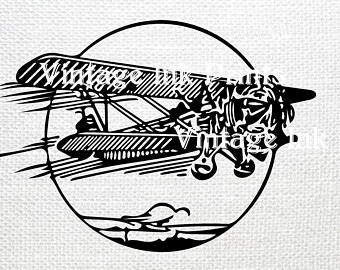 Vintage paper airplane etsy. Biplane clipart template