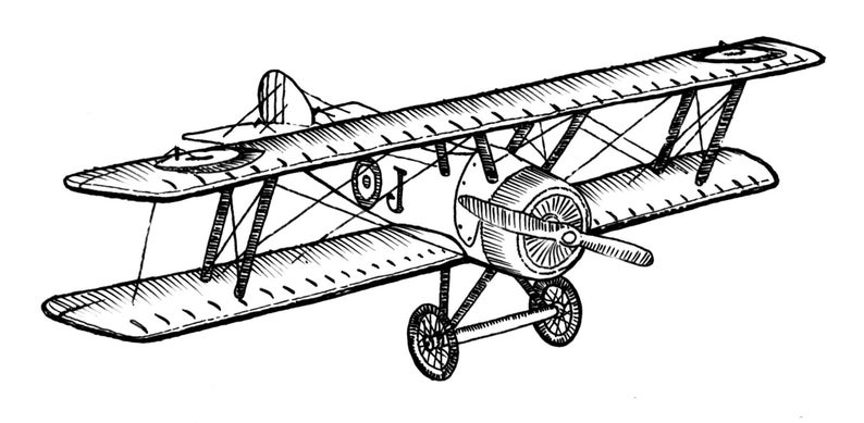 Style airplane ink drawing. Biplane clipart vintage