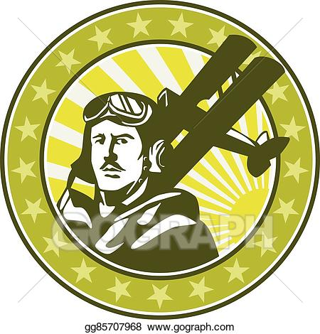 Biplane clipart world war. Vector pilot airman spad