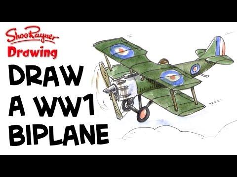 How to draw a. Biplane clipart ww1 plane