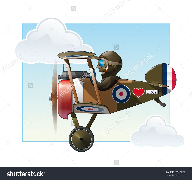 Vector cartoon illustration of. Biplane clipart ww1 plane
