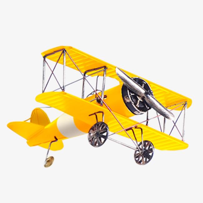 Small plane aircraft technology. Biplane clipart yellow