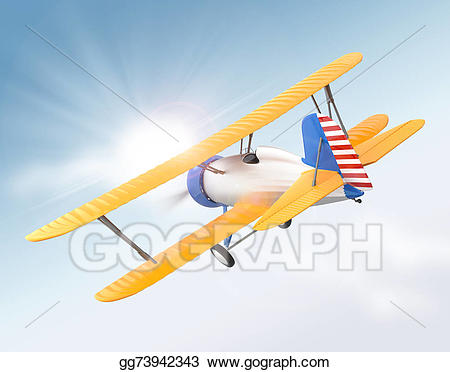 Biplane clipart yellow. Stock illustration and silver