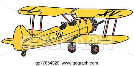 Biplane clipart yellow. Vector illustration old stock