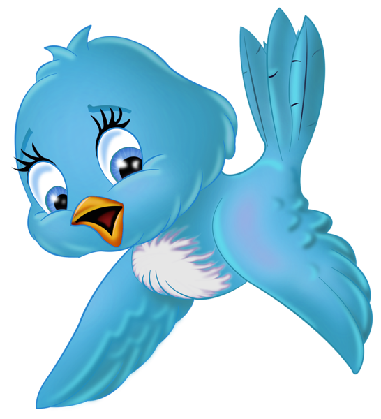 Large Blue Bird PNG Cartoon Clipart