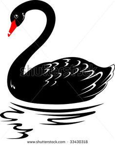 Birds clipart black swan. Stock vector illustration heart