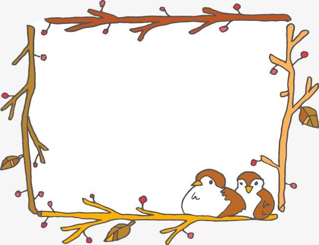 Hand painted birds branch. Bird clipart boarder