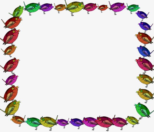 Colored border background color. Bird clipart boarder
