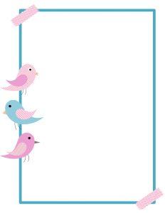 Free printable border customize. Bird clipart boarder