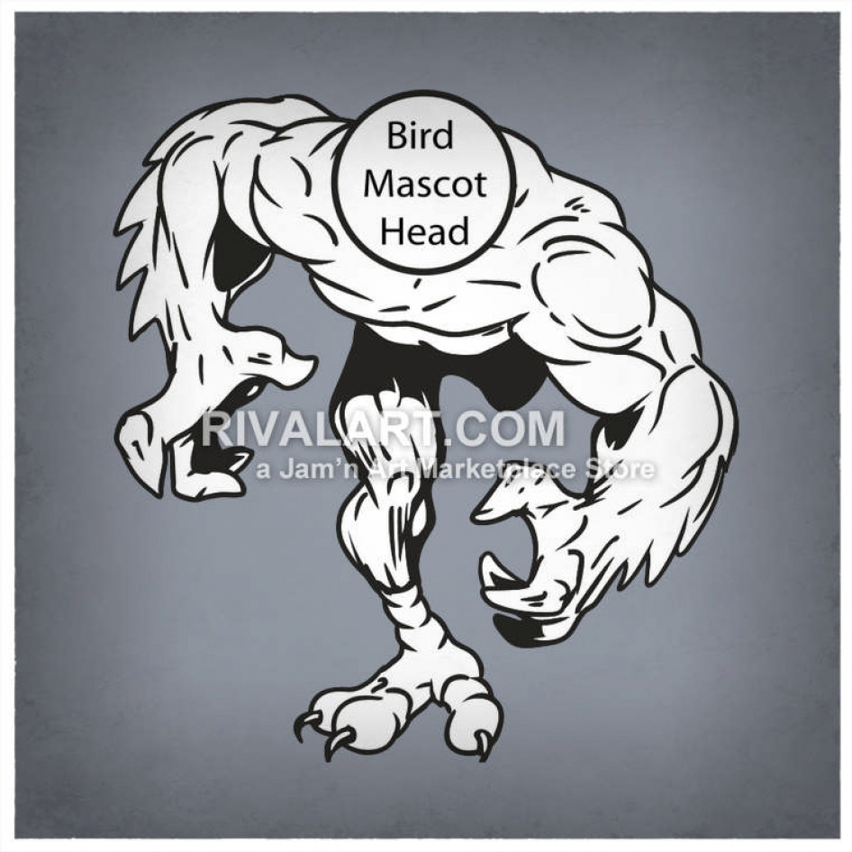 With muscles . Clipart bird body