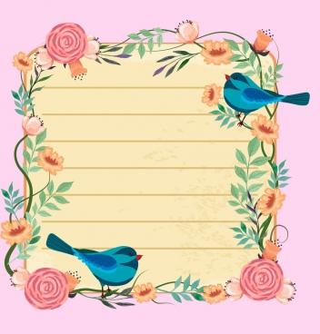 Bird clipart borders. Branch spring flowers birds