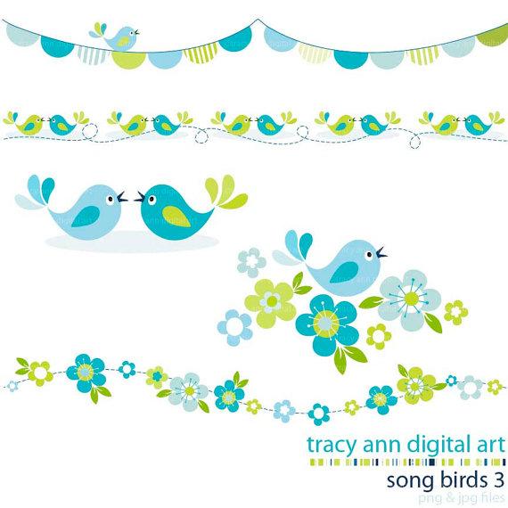 Blue . Bird clipart borders