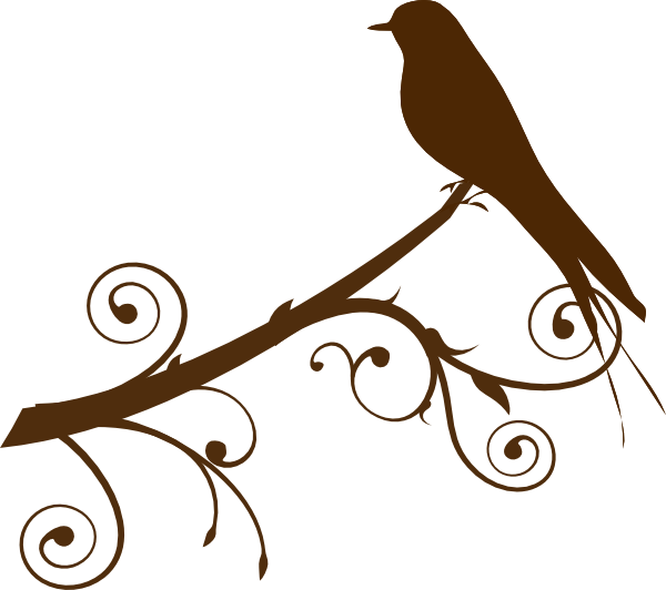 Silhouette of birds on. Bird clipart branch