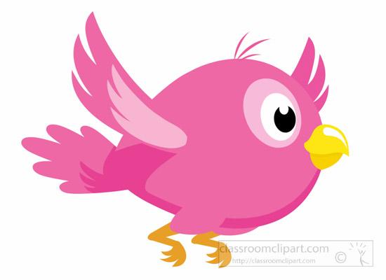 Animal pink with yellow. Bird clipart cartoon