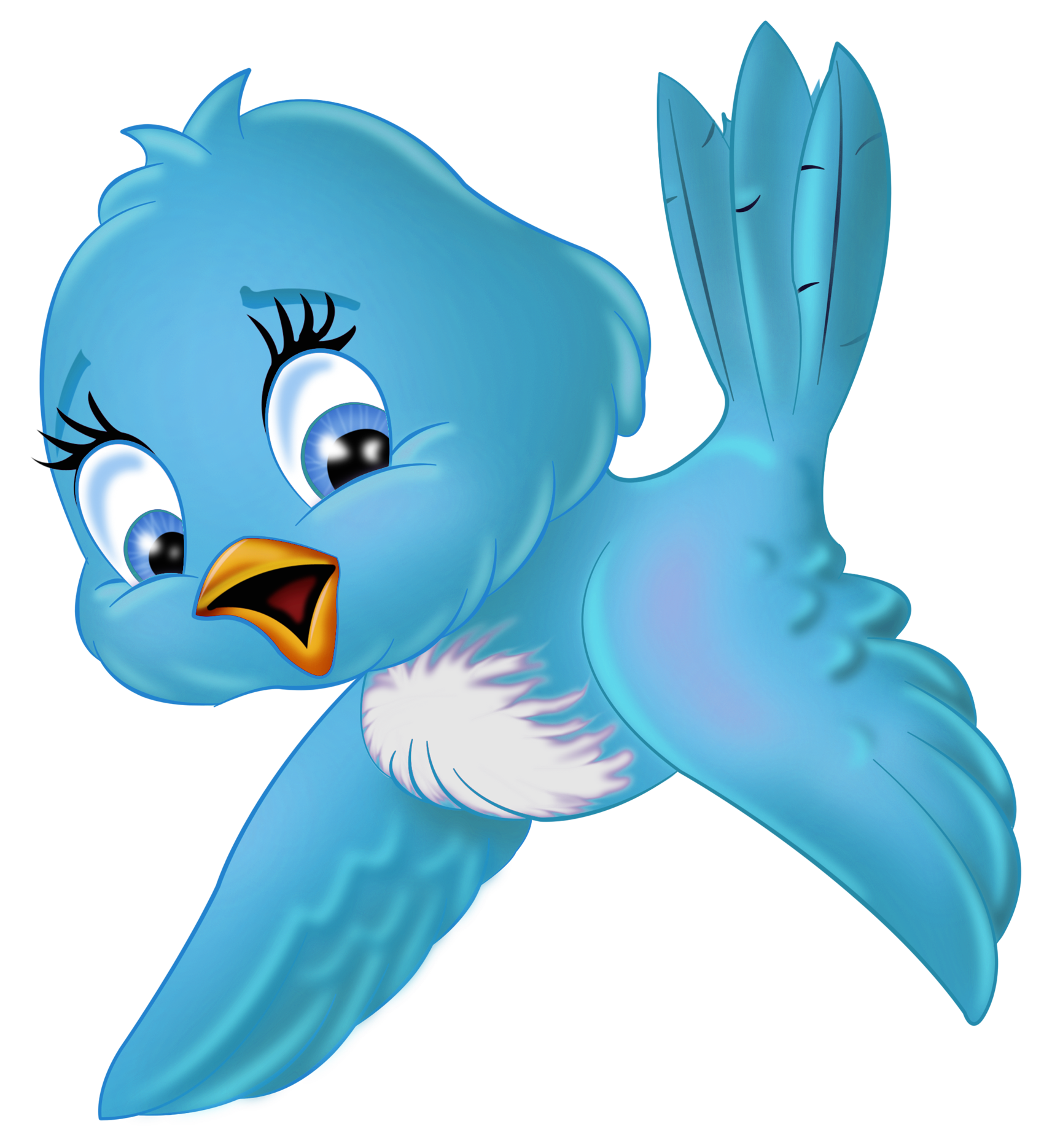 One clipart cartoon. Large blue bird png