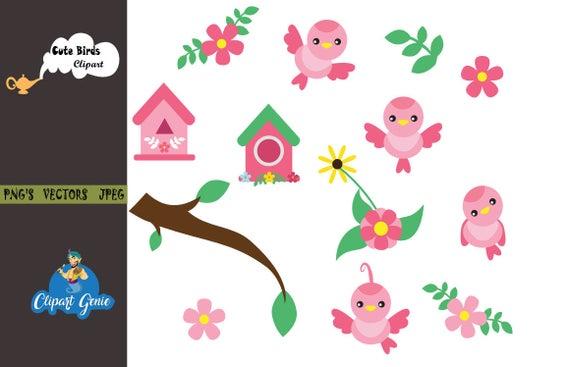 Bird clipart cute. Birds clip art vector