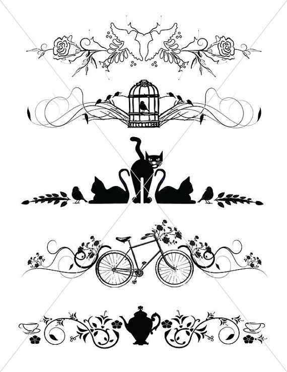 Silhouette cats lines borders. Bird clipart divider