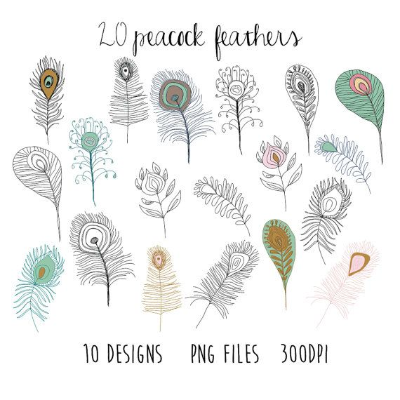Bird clipart doodle. Feather by papernestco