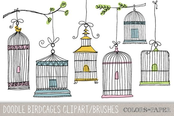 Birdcages brushes illustrations creative. Bird clipart doodle