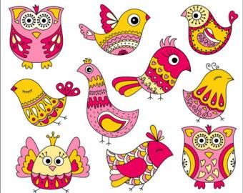 Cute doodles etsy pink. Bird clipart doodle