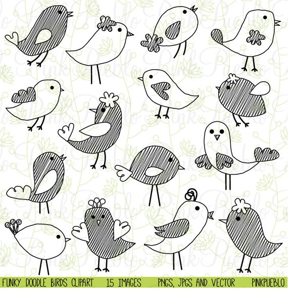 Birds clip art hand. Bird clipart doodle