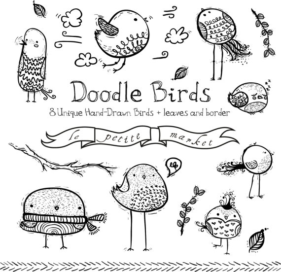 Clipart bird doodle. Doodly images cute drawings