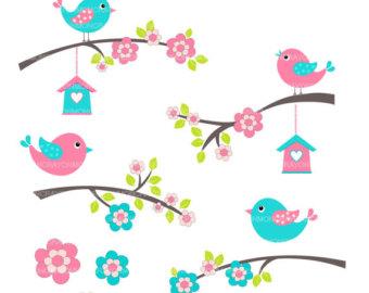 Birds clip art flowers. Bird clipart flower