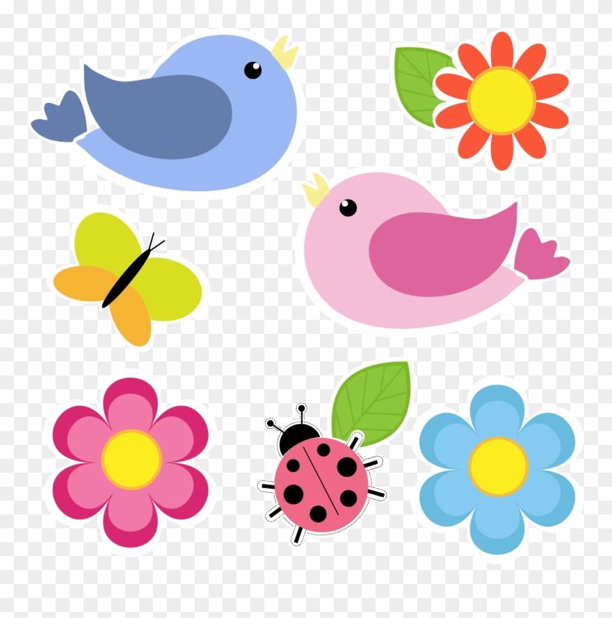 Bird clipart flower. Birds and butterfly clip